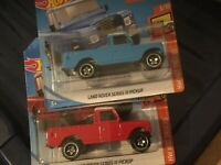 Hot Wheels Land Rovers Series III Pickup X2 Red&Blue Bundle 2019 Hot Trucks 3/10