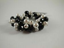 White House Black Market Black Faceted and White Pearls Bracelet B104