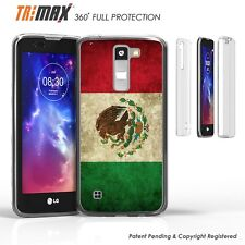 LG K7 Tribute 5 M1 Treasure Clear Slim 360 Full Body Protection Case MEXICO FLAG