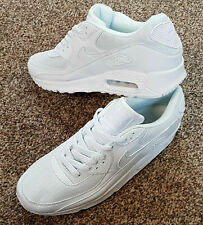 NIKE AIR MAX 90 WHITE on WHITE BLANCA BLANCA CASUAL TRAINERS SHOES SIZES 10 11