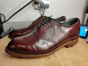 Men's VINTAGE Footjoy Classics Golf Shoes Made USA Burgundy Saddle Oxford 7.5 D