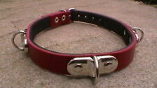 12-15 inch fetish bondage collar red with black linning and 3 d rings