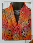 GORGEOUS LACY BEADED LEAVES OF FALL STOLE to KNIT IN FINGERING WEIGHT YARN