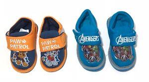 Boys Character Slip on Slippers Fasten Novelty Infants PawPatrol Avenger Xmas