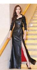Sexy Ladies Slim Zipper Up Leather Buckle Belt Long Party Dress Jacket Coat Hot