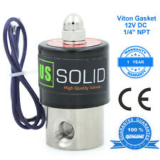 """U. S. Solid 1/4"""" Stainless Steel Electric Solenoid Valve 12V DC Normally Closed"""