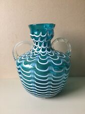 Vintage Blue Glass Vase Trailed White Combed Festooned Rope Twist Handles 25 cm