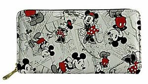 Mickey & Minnie Mouse All Over Print Hand Purse Zip Around Long Clutch/Wallet