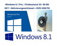 Microsoft Windows 8.1 Pro Vollversion 32 & 64 Bit Product-Key OEM + GRATIS DVD