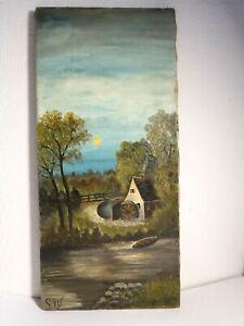 antik orig. Ölgemälde a. Leinen Mühle am Bach Landschaft sign. S.W. 50 x 23,5 cm