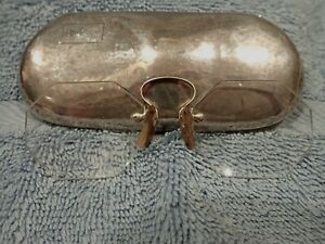 HAMMERED DESIGN STERLING EYEGLASSES CASE WITH UNUSUAL BIFOCALS IN TOP CONDITION!