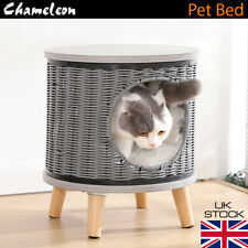 Premium Rattan Pet Bed Cat Puppy Small Dog Basket Pod Two Tier Cushion House