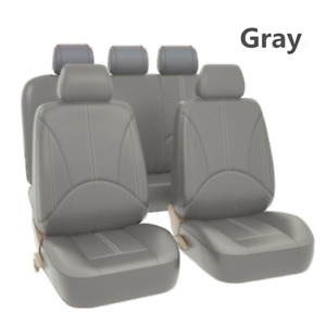 Front Reat Car Seat Cover Protector Cushion Gray Braethable PU Leather Universal
