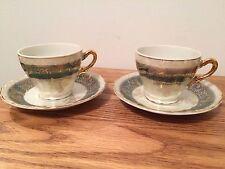 (2) Vintage Japan Iridescent Demitasse Tea Cups & Saucers
