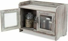 MyGift Rustic Wood Kitchen & Bathroom Countertop Cabinet w/Glass Windows