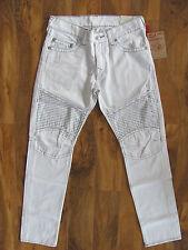 True Religion Slim Moto Jeans -Optic White- Grey Stitching - Size 31 -NWT $244