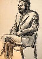 Vintage watercolor painting impressionist male portrait