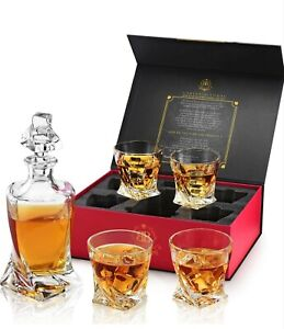 Crystal Glass Whiskey Decanter Set 850 ml set - 4 Twisted tumblers - Gift Box