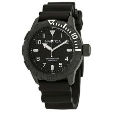 Nautica NSR 106 Black Dial Black Silicone Mens Watch NAD10081G