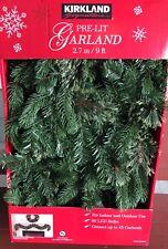 Kirkland Signature Decorative Christmas Pre-lit Garland. 9 Feet 150 Clear Lights