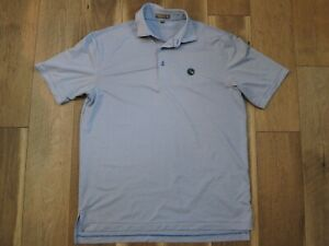Peter Millar Summer Comfort Mens Blue/White Striped Poly/Spandex Polo Shirt Sz M