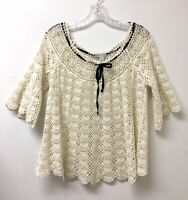 Cato Cream Boho Crochet Top Blouse Open Weave Womens L Bell Sleeves