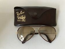 Vintage Ray Ban Sunglasses - aviator leather-wrapped brown