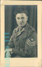 Postcard WW2 Soldier Sergeant portrait Cigarette in Hand  Real photo