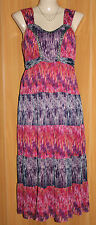 KATIES Beaded Bodice, Shirred Back, Floaty Chiffon Print Maxi Dress Size 14