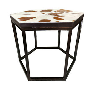 Indian Handmade Designer Tan and White Hairy Leather With Iron Stand Side Table