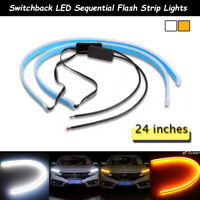 24'' Switchback Flexible LED Tube DRL Turn Signal Light Strips Kit For Headlight