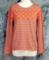 Sparrow Anthropologie Womens sz M Gray Orange Stripe Dot Long Sleeve Sweater