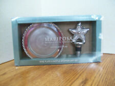 Mariposa Wine Plate & Bottle Stopper Gift Set-Starfish And Swizzle- New-See Pics