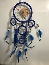 Dream Catcher Bead Feathers Shells Blue Native American