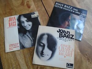 "JOAN BAEZ - 3 x ORIGINAL EPs 7"" VINYL SINGLES SILVER DAGGER,SWEET HEART,ONGUITAR"