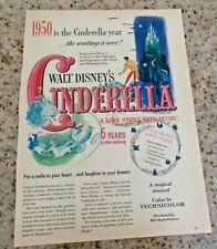 "ORIGINAL Walt Disney CINDERELLA 1950 Trade Ad  8 1/2""x11"" Great Graphics"