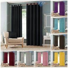 Luxury Thermal Blackout Curtains Eyelet Ring Top Curtain Pair With Tie Backs