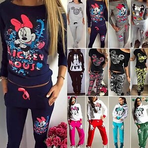 Womens Mickey Minnie Mouse Hoodie Pullover Sweatshirt Pants Tracksuit Loungewear