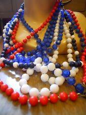 Vintage 70s Red White Navy Blue Bead Long Necklaces USA Retro Disco Nautical Lot