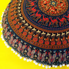 "34"" Indian Mandala Round Floor Cushion Cover Yoga Pillow Boho Decor Meditation"
