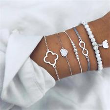 Bracelet Set Multilayer Chain Bangle 5Pcs Women Love Elephant Pendant Bohemia