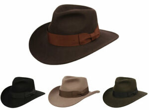 Premium Wool Felt Indiana Jones Fedora Hat w/Grosgrain Band Crush-able Outback