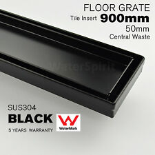 900mm Black Floor Drain Shower Grate Tile Insert 50mm Waste Central Outlet SUS