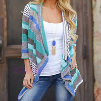 Boho Womens Knitted Cardigan Loose Sweater Outwear Long Sleeve Jacket Coat Tops