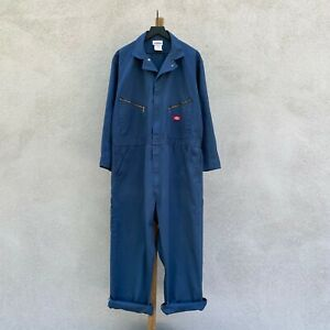 Vintage Dickies Dark Blue Poly Cotton Twill Coveralls Size 50 Regular