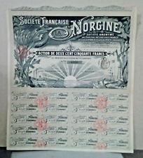 ACTION DE DEUX CENT CINQUANTE FRANCS SOCIETE FRANCAISE LA NORGINE 1903 DELAPALME