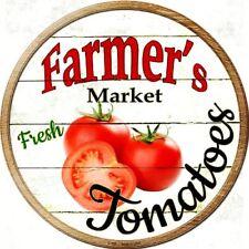"Farmers Market Tomatoes 12"" Round Metal Kitchen Sign Novelty Retro Home Decor"
