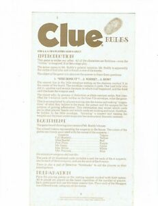 1950 Parker Brothers Clue Board game Replacement Instructions