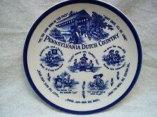 "Pennsylvania Dutch Country 8"" Decorative Stoneware Plate Cobalt Sayings & Scenes"