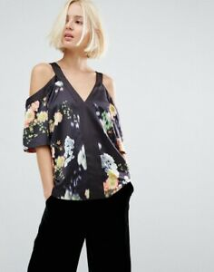 Whistles Aiko Print Cold Shoulder Top Size 12